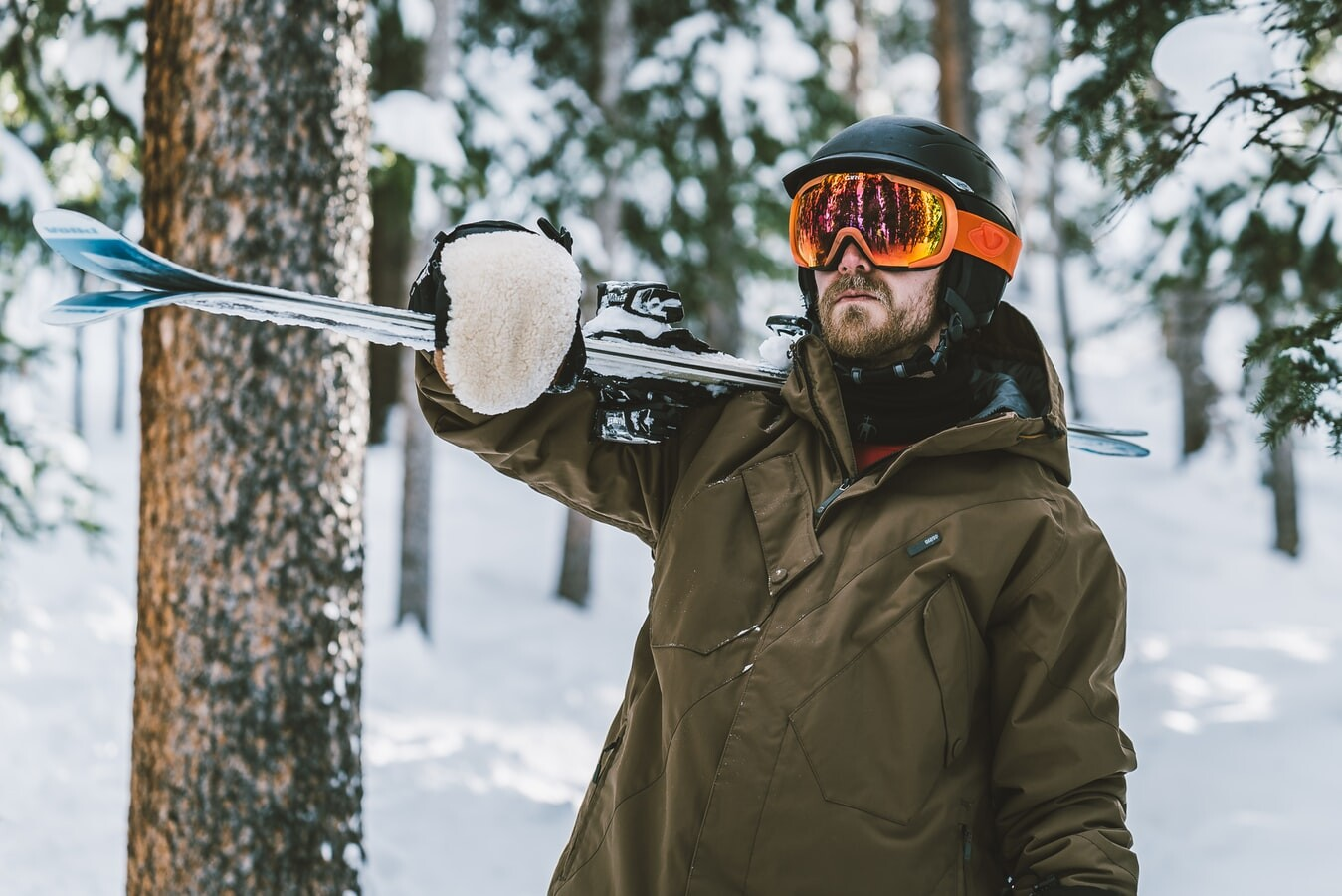 man dressed for skiing
