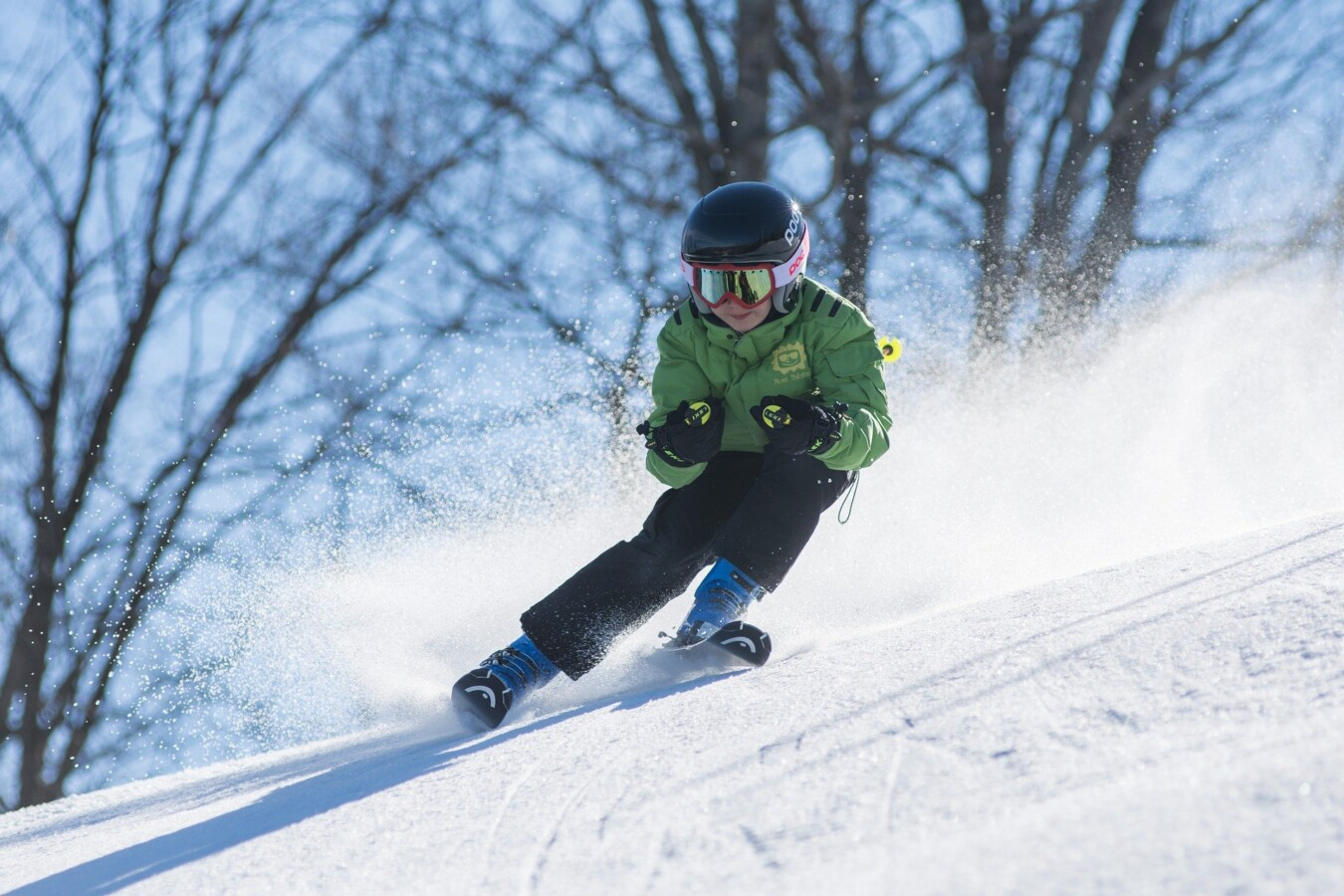 young person skiing