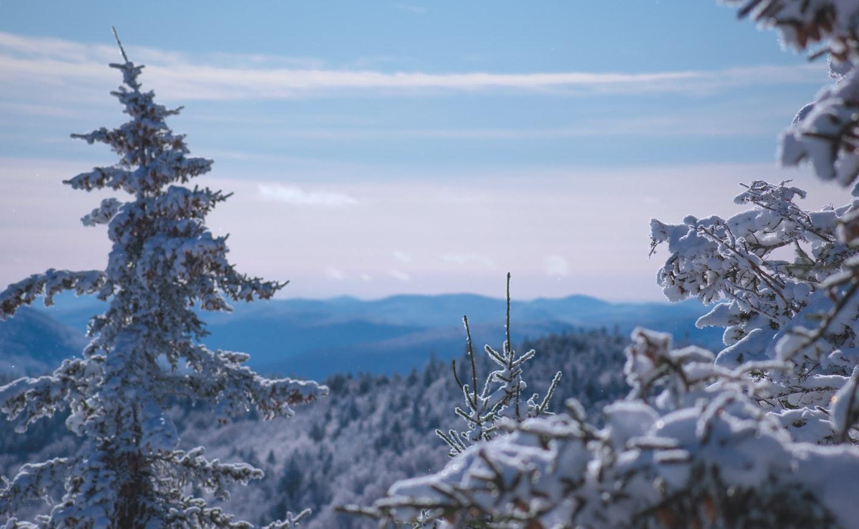 snowy winter scene in killington vermont